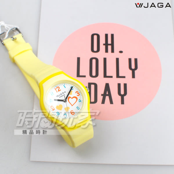 JAGA 捷卡 繽紛時尚 俏皮甜心 心心相印 防水 指針錶 學生錶 女錶 AQ1191-K(黃)