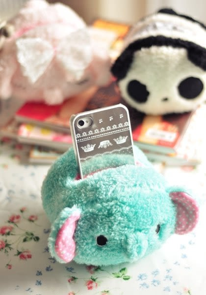 【發現。好貨】憂傷馬戲團薄荷象手機座粉小象毛絨熊貓遥控器座卡通手機座 收納筒