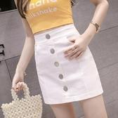 2020夏裝新款韓版高腰修身單排扣牛仔短裙女百搭包臀裙a字半身裙 中秋降價