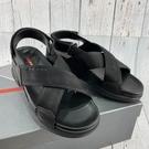 BRAND楓月 PRADA 3X5972 黑色 綁帶 帆布 交叉 魔鬼氈 露趾 平底 涼鞋 休閒鞋 #35.5