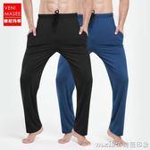 男士睡褲夏季薄款家居褲長褲莫代爾寬鬆大碼居家褲休閒運動瑜伽褲 美芭