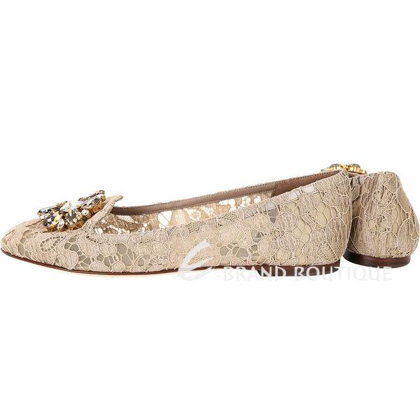 DOLCE & GABBANA 花朵鑽飾蕾絲樂福鞋(卡其色) 1730399-C5