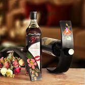 創意個性實木紅酒架擺件現代簡約客廳葡萄酒架木質酒瓶架酒托架子 qf1902『黑色妹妹』