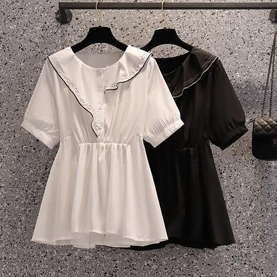 洋裝~大碼女裝胖mm雪紡衫寬松短袖娃娃衫上衣連身裙子3F086-A胖妹大碼女裝