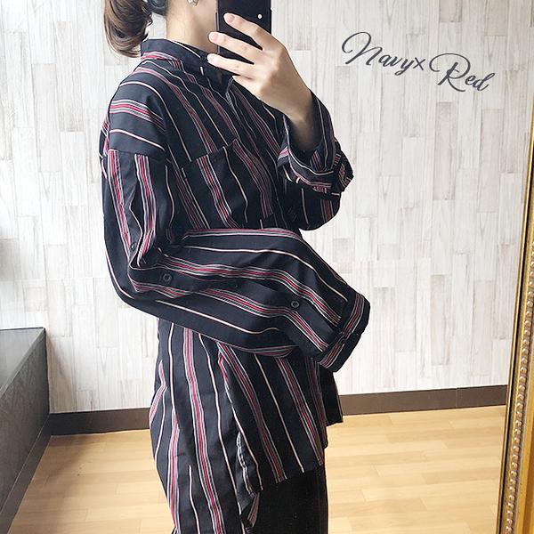 東京著衣-Felt maglietta-小立領雪紡印花後中打褶長襯衫(Z200012)