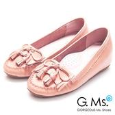 G.Ms. * Q彈新主張-流蘇蝴蝶結真皮內增高豆豆鞋*溫柔粉