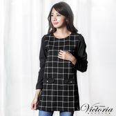 Victoria 假袋蓋異材質拼接長版長袖T-女-黑底白格紋