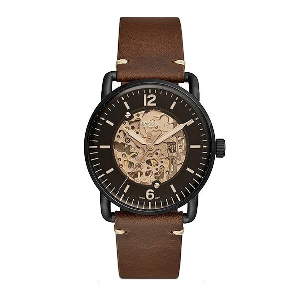 【Fossil】Commuter鏤空機械時尚紳士真皮摩登腕錶-質感棕/ME3158/台灣總代理公司貨享兩年保固