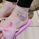 蘇心飾品韓國簡約小清新創意鈴鐺星星花朵時尚玫瑰金百搭女款腳鏈