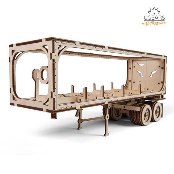 Ugears 自我推進模型 - 重裝教父VM-03配件-拖車- 來自烏克蘭.橡皮筋動力.機械驚奇 !