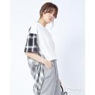 【南紡購物中心】CANTWO拼接格紋長板短袖上衣-三色
