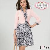 洋裝MIT優雅小碎花V領領帶修身收腰傘狀顯瘦洋裝LIYO理優E816002