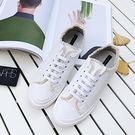 休閒鞋 正韓抽鬚綁帶休閒鞋(白) N2