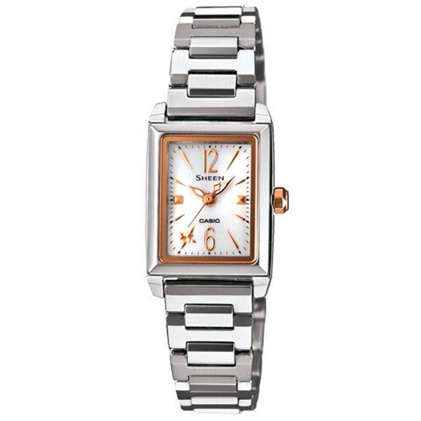 CASIO SHEEN系列 璀璨光輝太陽能都會腕錶(銀玫瑰金)