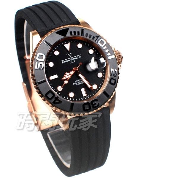 Emilio valentino 黑陶瓷框 V21701SR 遊艇日本機心 藍寶石水晶錶鏡 yacht master