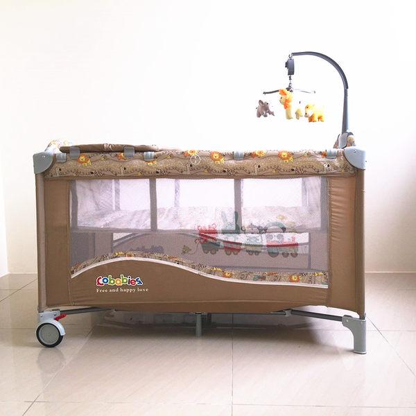 豪華遊戲床 加長遊戲床  多功能 嬰兒床 雙層床 可折疊 附置物袋 尿布台(音樂鈴需加購)