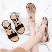 優一居 涼鞋女夏季平底百搭時尚真皮平跟孕婦羅馬女鞋