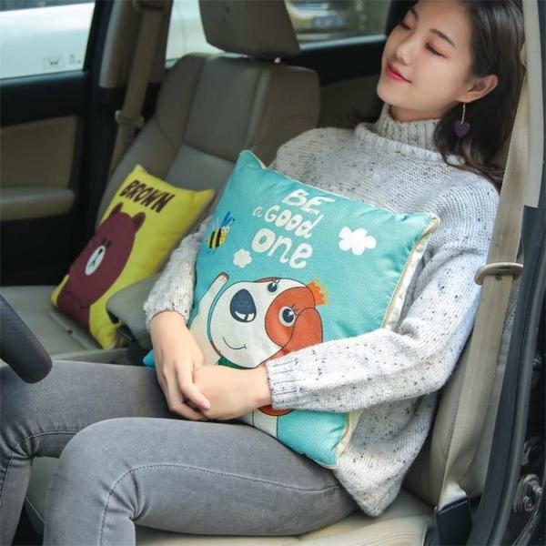 車載抱枕汽車抱枕被子兩用卡通車載靠墊午休午睡多功能折疊空調被車內用品 免運