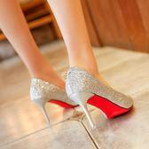 高跟鞋女夏新款 韓版 百搭細跟尖頭銀色婚鞋新娘鞋單鞋女 俏腳丫