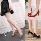 中跟鞋 百搭細跟5cm少女低跟流行韓版尖頭單鞋學生 coco衣巷