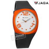 JAGA 捷卡 / AQ990-A / 立體數字刻度 指針夜光 運動橡膠手錶 白x橘框x深灰 40mm