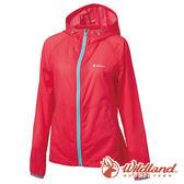 【wildland 荒野】女 彈性17D輕量透氣外套『珊瑚紅』0A61987 防風外套 連帽外套 輕薄 透氣 時尚 戶外