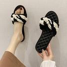仙女拖鞋 拖鞋女夏外穿2021新款韓版百搭小香風珍珠平底一字網紅沙灘涼拖鞋