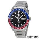 SEIKO精工  精工5自動藍紅錶圈指南針不鏽鋼男士手錶 SRP661K