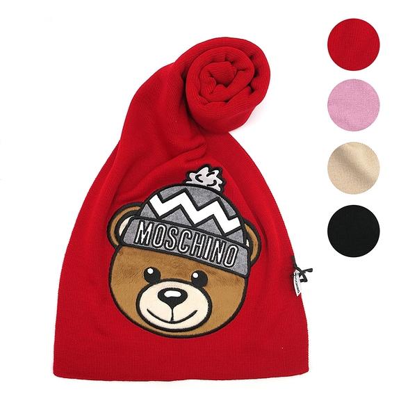 【台中米蘭站】全新品 MOSCHINO 經典絨毛泰迪熊大頭圍巾 (多色)