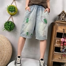 個性撞色破洞牛仔短褲五分褲寬褲女【96-17-880210507011-21】ibella 艾貝拉