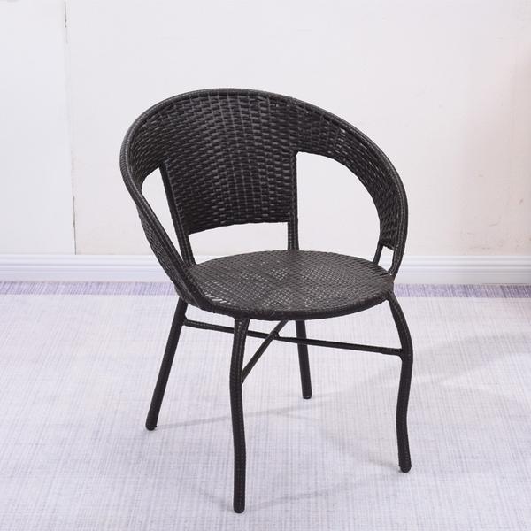 陽台小藤椅子單人扶手靠背椅編織家用老人庭院單個休閒戶外藤編椅