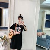 中大尺碼6804#(實拍)春夏卡通印花休閑寬松短袖中長款T恤裙(F4032)