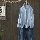 花瓣邊百搭苧麻襯衫長袖休閒上衣/Y4542