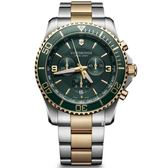VICTORINOX 瑞士維氏 SWISS ARMY 三眼計時 手錶 (VISA-241693) 綠金/43mm