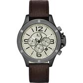 A│X Armani ExChange 率性品味計時錶-灰x咖啡/48mm AX1519