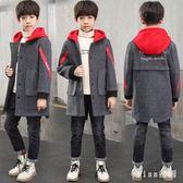 大尺碼童裝 男童呢子外套加厚新款中大童韓版兒童呢子大衣加絨男孩潮 js19697『miss洛羽』
