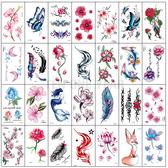 紋身貼 刺青 小清新紋身貼防水 女 持久韓國仿真性感鎖骨腳踝花朵遮疤紋身貼紙