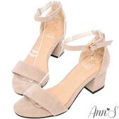 Ann'S氣質女伶-側邊閃耀吊鑽極簡繫踝粗跟涼鞋-米