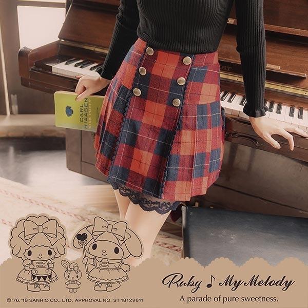 褲裙 My Melody x Ruby 聯名款.排釦格紋蕾絲後鬆緊褲裙-Ruby s 露比午茶