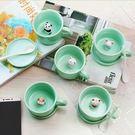 馬克杯 創意青瓷杯內動物杯子小白卡通咖啡杯馬克杯陶瓷水杯帶蓋送勺