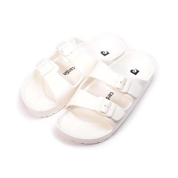 皮爾卡登 輕量腳床雙帶拖鞋 白 女