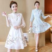 VK旗艦店 韓國風復古旗袍領盤扣梅花刺繡收腰七分袖短袖洋裝
