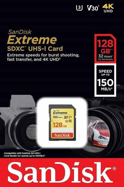 SanDisk 128GB 128G SDXC Extreme【150MB/s】SD 4K U3 V30 C10 Class 10 SDSDXV5-128G 相機 記憶卡