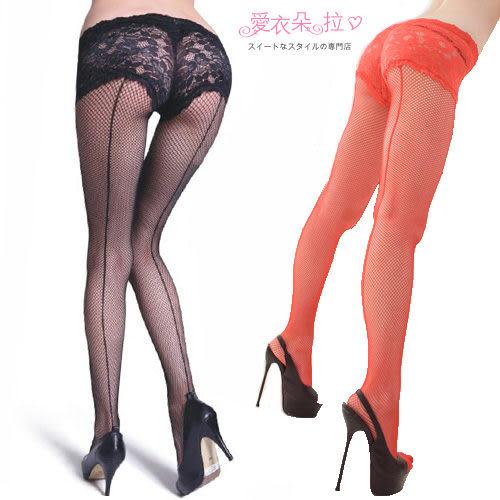 造型褲襪 背後直線網襪 蕾絲連身褲襪 黑紅色- 愛衣朵拉