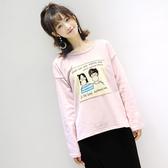 +M8341#秋季女裝寬鬆顯瘦中長款圓領套頭卡通貼布長袖T恤女  &小咪的店&