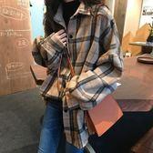 網紅格子襯衫女韓版女裝2019新款春季上衣女學生流行襯衣寬鬆外套