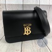 BRAND楓月 BURBERRY 黑色 TB LOGO 金釦 皮革 斜背包 側背包 方包