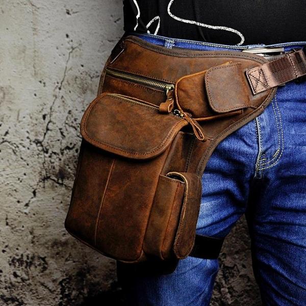 戰術腰包戶外腿包多功能復古男士頭層牛皮休閑包斜跨真皮腰包男 黛尼時尚精品
