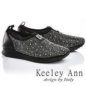 ★2017春夏★Keeley Ann璀璨光芒~耀眼滿鑽真皮平底休閒鞋(黑色)