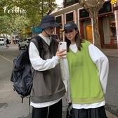 情侶裝秋裝假兩件長袖小眾設計感潮牌ins網紅寬鬆體恤打底衫男 【快速出貨】
